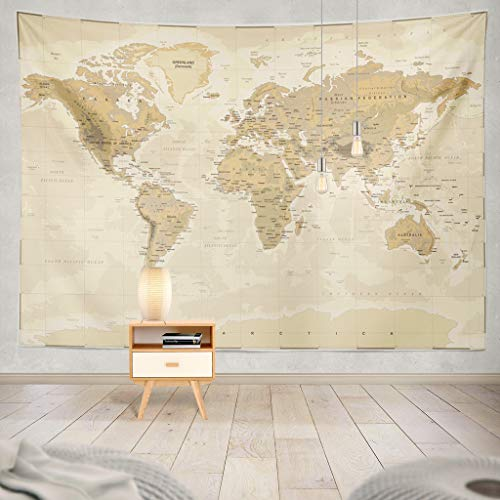 - Summor Tapestry Map World Vintage Asia Europe South City Topography America Africa Japan Hanging Tapestries 60 x 80 inch Wall Hanging Decor for Bedroom Livingroom Dorm