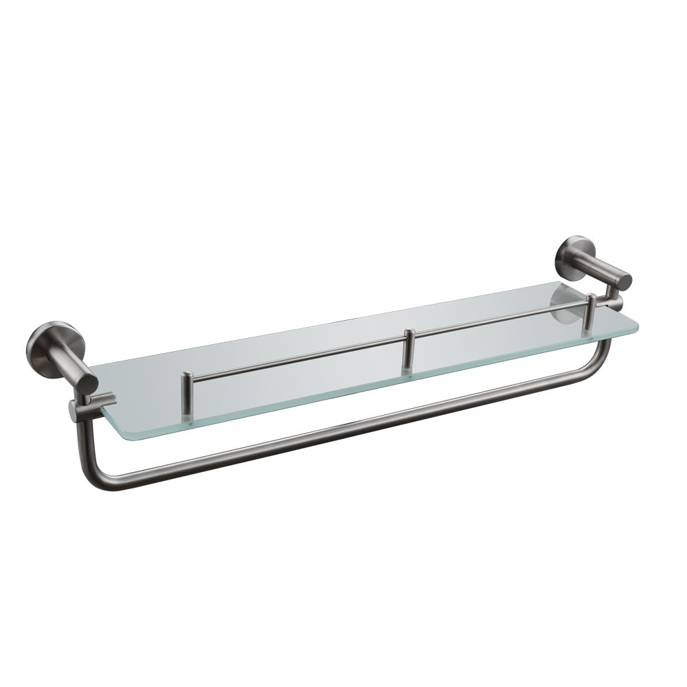 KES BGS2200-2 SUS304 Stainless Steel Lavatory Bathroom Tempered Glass Shelf 7MM-Thick Wall Mount with Towel Bar and Rail, Brushed