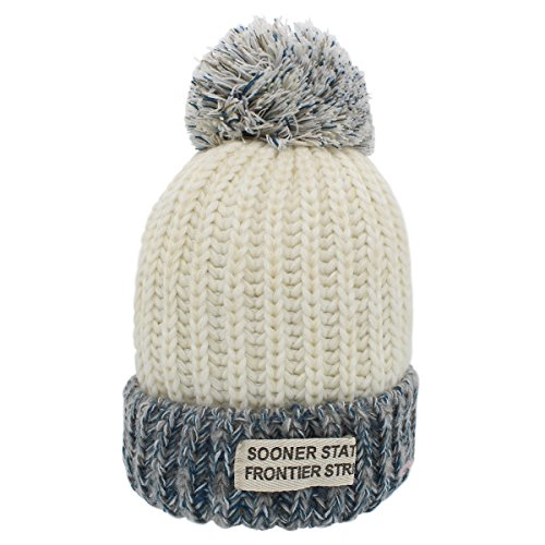 YOPINDO Trendy Crochet colorful Knitted Hat Pom Beanie Winter Ski Warm Hat Spliced Color Plush Wool Hat (White) (Knitted Beanie Hat Pattern)