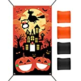 KUUQA Halloween Cornhole Game Supplies Halloween Bean Bag Toss Games Set with 4 Bean Bags 19.7 ft Rope Halloween Party Games Supplies for Children Family Game Party Favor