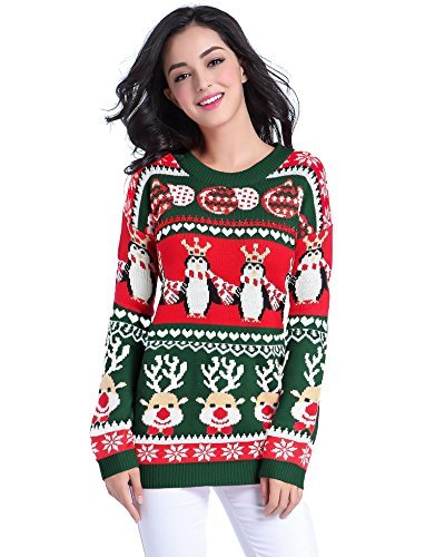 v28 Ugly Christmas Sweater, Women Girl Long Vintage Knit Xmas Warm Pulli Sweater(Medium, Green)