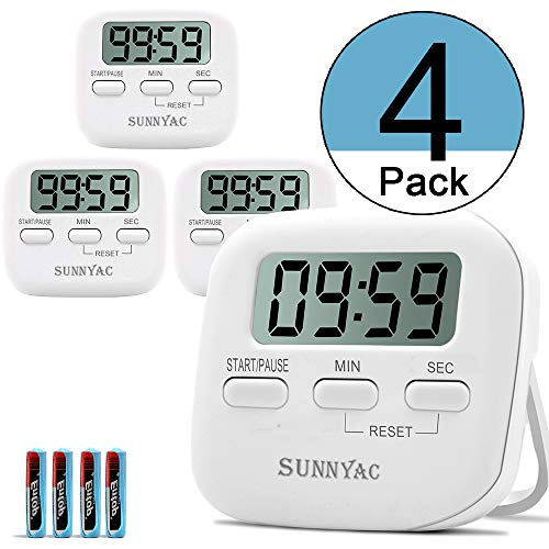 Sunnyac Digital Kitchen Timer, Small Magnetic Timers with LCD Display and Stand, Minute Second Count Up Countdown Timer with Loud Alarm, Visual Stopwatch for Cooking, Including AAA Battery, White (4) ()