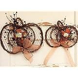 AG Designs Fall Decor - Flat Grapevine Twig Wire Pumpkin Wreaths 2pc #613/40
