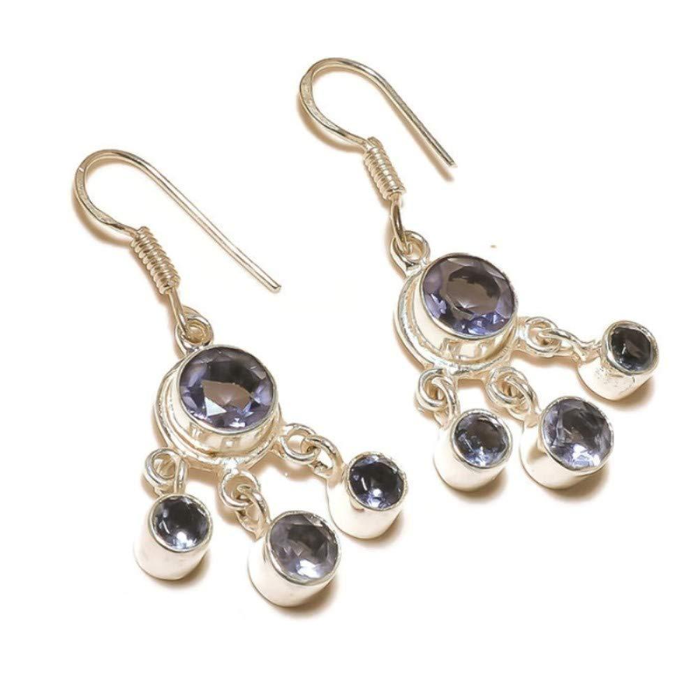 jewels house Stunning Iolite Round Cut Gemstone Silver Plated Handmade Drop Dangle Earrings