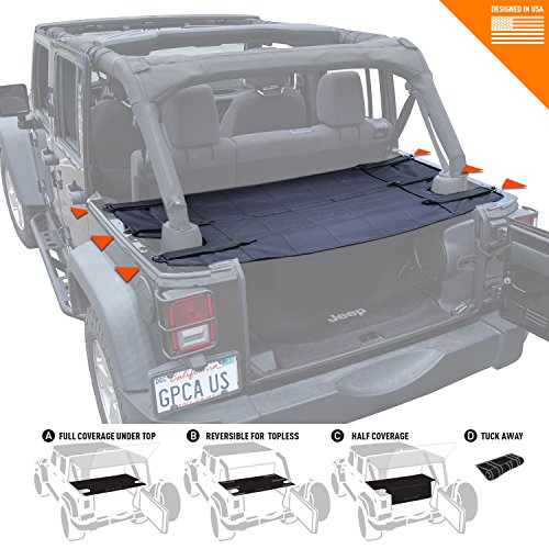 (GPCA Wrangler Cargo Cover PRO - Reversible for TOP ON/Topless Jeep JKU Sports/Sahara/Freedom/Rubicon 4DR Unlimited 2007-2017 Models)