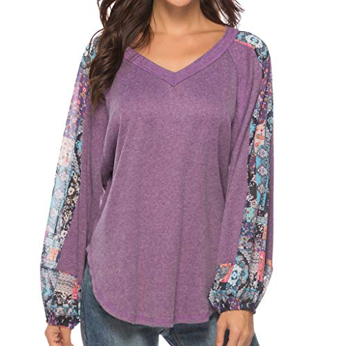 - Ximandi Women's Casual Comfy Floral Print Long Sleeve Tunic Top Blouse Ladies V-Neck T Shirts
