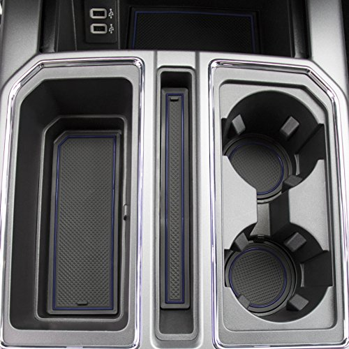 2017 2018 Ford F-150 Custom Fit Cup Holder and Door Liner Accessories F150 28-pc Set (Super Crew) (Dark Blue Trim)