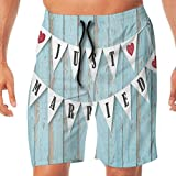 Haixia Mens Summer Beach Shorts Wedding Decorations Just Married Letters On Tri