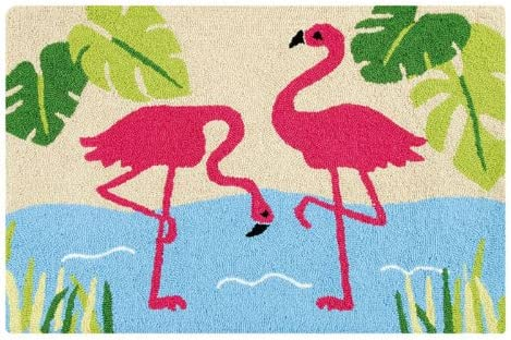 CFF Tropical Pink Flamingos Hooked Accent Rug Floor Mat 34 X 22 Inch