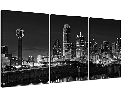 (NAN Wind 3 Pcs Wall Art Beautiful Dallas Skyline Black & White Canvas Art Paintings For Room Decor Dallas Cityscape Skyscrapers Night Scene Picture Prints On Canvas For Home Decor Modern Giclee Framed )