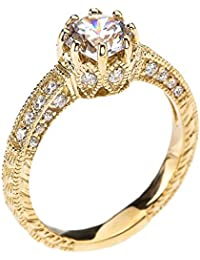 Art Deco Diamond 14K Yellow Gold Engagement and Proposal Ring with 1 Carat White Topaz Centerstone