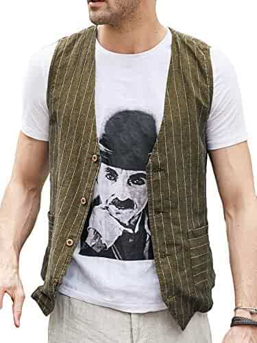 a948761c725 Taoliyuan Mens Casual Suit Vest Slim Fit Cotton Striped Skinny Fullback V  Neck Waistcoat with Pockets