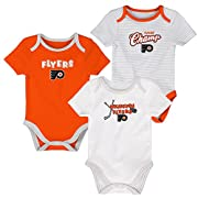 Outerstuff NHL Philadelphia Flyers Layette Newborn 3Rd Period Onesie Set (3 Piece), 0-3 Months, Varsity Orange