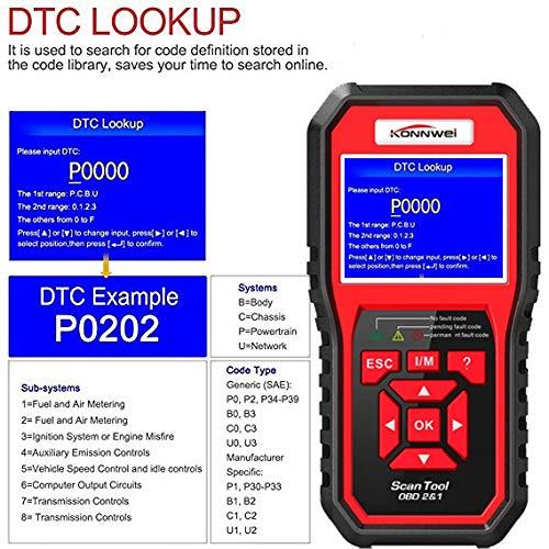 OBD2 Scanner KONNWEI Code Reader OBD II Auto Diagnostic Code Scanner OBD  EOBD Car Engine Fault CAN Diagnostic Scan Tool with I/M Readiness (Upgraded