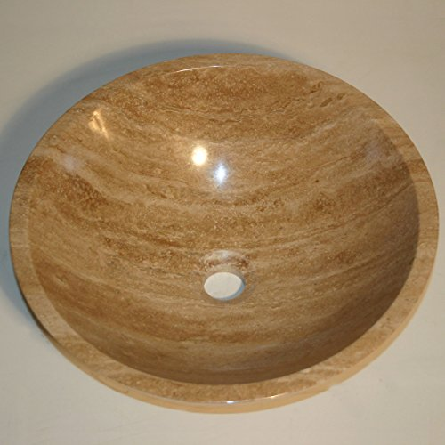 - Silkroad Exclusive SRS-0029B-P Natural Travertine Stone Top Sink Vessel Basin Bowl Bathroom Vanity, Cotton