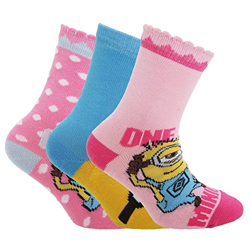 Despicable Me Official Childrens/Kids Minions Ankle Socks (Pack Of 3) (UK Child 12.5-3.5, EUR 31.36) - Despicable Me Outfit