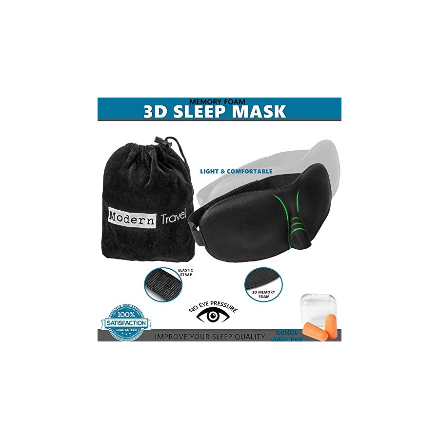 Modern Travel 3D Memory Foam Sleep Mask With Heightened Nose Arch | Breathable Fabric & Adjustable Velcro Strap | For Men, Women, Meditation, Shift Workers & More | Bonus Travel Case & Ear Plugs