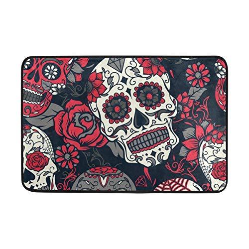 shengshilande Vintage Bohemian Happy Halloween Skull Roses Non Slip Doormat Doormats Area Rug for Entrance Way Front Door Indoor 23.6 by 15.7 Inches 40 x 60 -