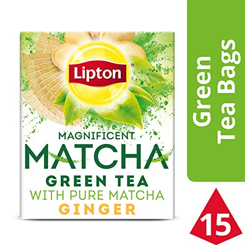 Lipton Magnificent Matcha Green Tea Bags, Ginger 15 ct ( Pack Of 4 ()