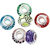 Pack of 20 Beads Wholesale - Resin European Style Charm Beads Round At Random Silver Tone Black Dot Pattern