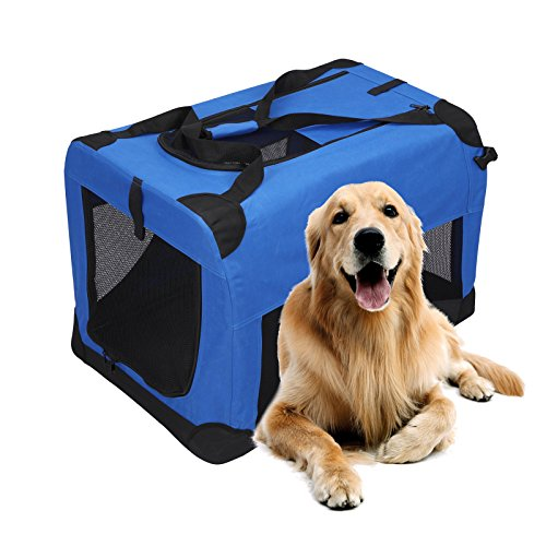 Magshion Portable Crates Kennels Fabric Transport With Sturdy Metal Frame Metal Cages (XXL-40″, Blue)
