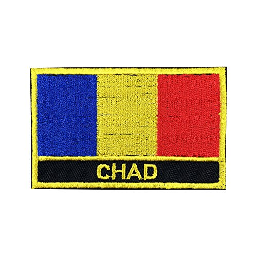 "Chad Flag Patch / African Embroidered Travel Patch Sew-On (Chad Iron On w/ words, 2"" x 3"")"