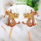 UHOO2018 Printed Pattern Washable Table Cloth - Identical Twin Dragons on Symmetric Axis Religious Mythic Featured Heritage Animal Design Dinner Kitchen Home Decor 35.5'' Round