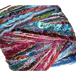Mixed YARN Fiber Sample Bundle: Lot of 50 different 3 yard lengths Weaving Jewelry Quilting Arts +
