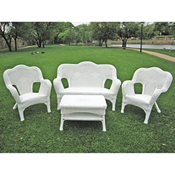 International Caravan 3180-WT-IC Furniture Four Piece Maui Outdoor Seating Group
