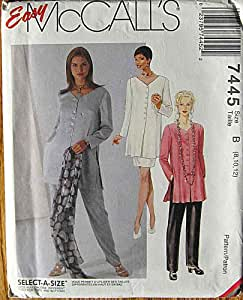 McCall's 7445 Sewing Pattern ~ Easy Misses' Tunic, Pull-on Pants, Pull-on Skirt, Sizes 8, 10, 12