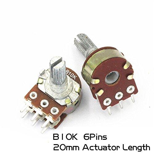 10Pcs Duplex Rotary Potentiometer (Stereo) 6Pins WH148 20mm Actuator Length 10K B10K Variable Resistors Side Adjustment Rheostats Volume Control ()
