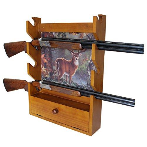 Rush Creek Creations Deer 4 Gun Wall Rack w/Storage Hidden Hardware - Dark Stain
