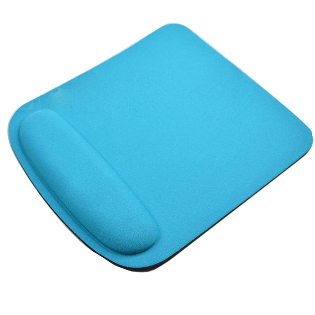 Coohole Gel Wrist Rest Support Game Mouse Mat Anti-slip Pad for Computer PC Laptop (Light Blue 1, A)
