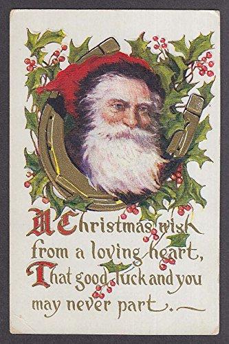 (Santa Claus holly berries horseshoe embossed Christmas postcard 1910s )
