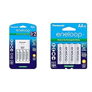 Panasonic K-KJ17MCA4BA Advanced Individual Cell Battery Charger Pack with 4 AA eneloop 2100 Cycle Rechargeable Batteries & eneloop AA 2100 Cycle Ni-MH ...