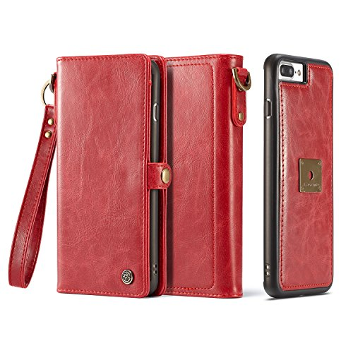 iPhone 8 Plus Leather Case,HIPICB Genuine Luxury Leather Flip Folio Opening Wallet Case,Snap Magnetic Closure with Hand Strap,Slim Shockproof Flip Cover and Card Slots for iPhone 8 Plus/7 Plus - Red