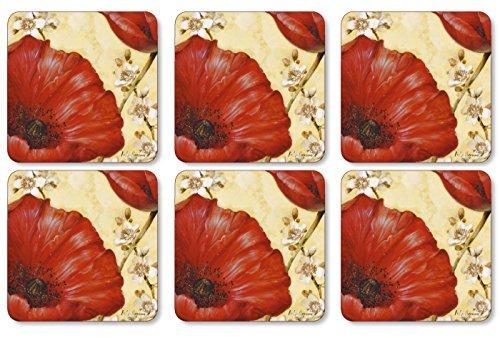 Pimpernel 10.5 x 10.5 cm MDF with Cork Back Poppy De Villeneuve Coasters, Set of 6, Multi-Colour by Pimpernel - Pimpernel Poppies