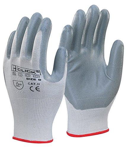 Nitril Schaum Polyester Handschuh grau M