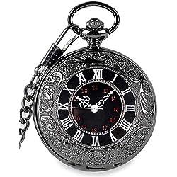 SwitchMe Vintage Quartz Pocket Watch Classic Black Roman Number Japan Movement with Belt Clip Chain