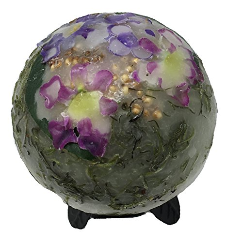 Habersham Candle Wax Pottery Spheres, 4-Inch Diameter with Black Trillium Stand, Lilac Blossom (Pillar Pottery)