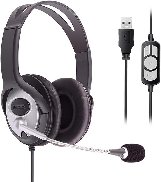 Auriculares de ordenador, auriculares USB con micrófono de cancelación de ruido y controles de volumen, auriculares de computadora con micrófono de ...
