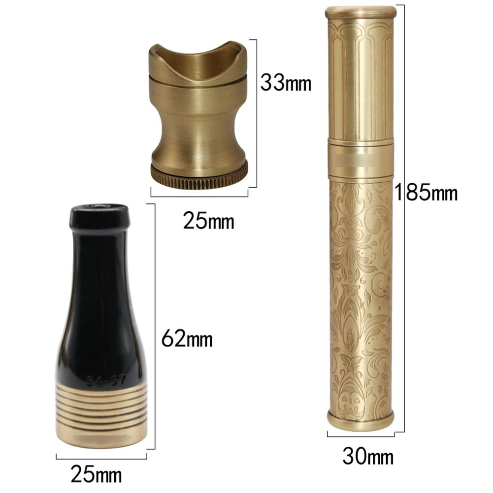 Cigar Smoking Gift Set, Brass Cigar Holder, Ashtray, Cigarette Holder, Cigar Tube 6 Piece Set by LTLSF (Image #2)