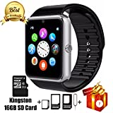 Jderv Smart Watch GT08 Bluetooth with 16GB SD Card and SIM Card Slot for Android Samsung HTC Sony LG HUAWEI ZTE OPPO XIAOMI and iPhone Smartphones (Sliver)