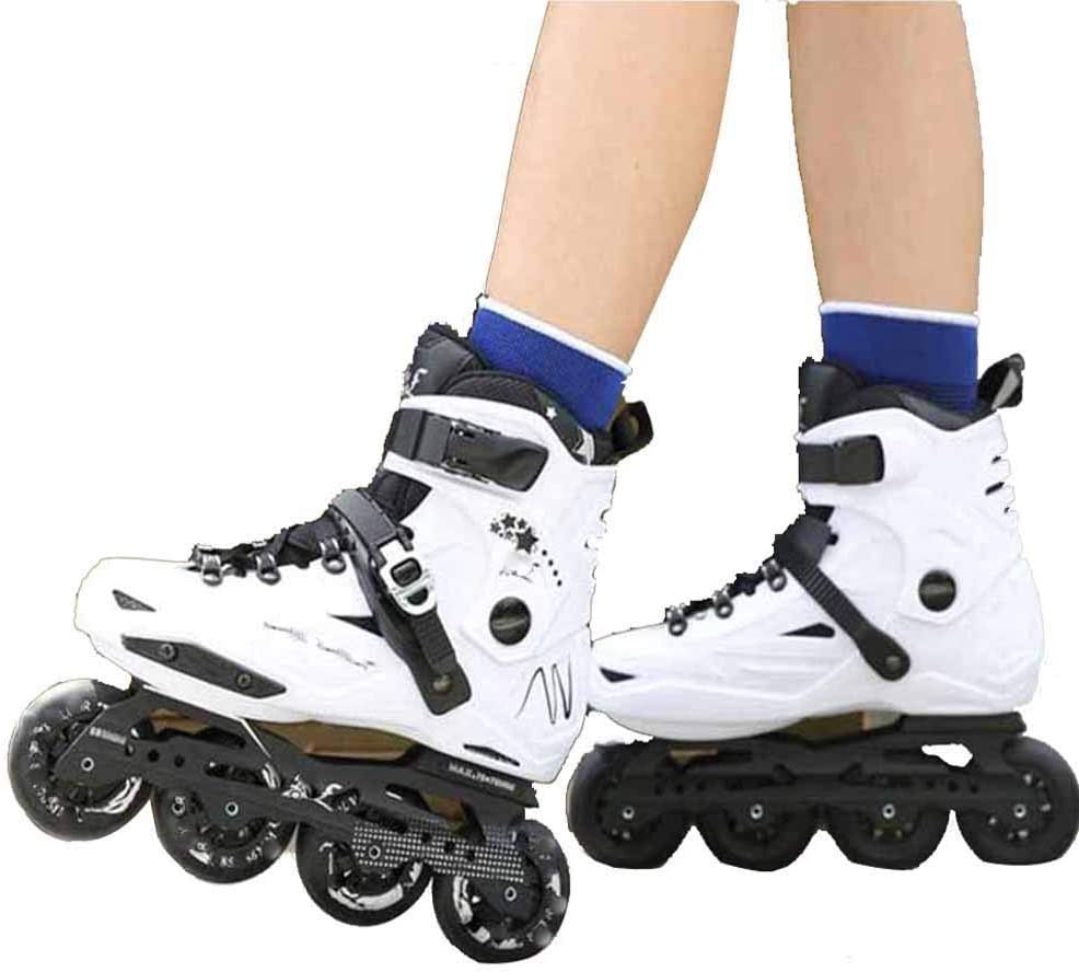 XJBHD Inline Skates for Men and Women Single Row Roller Blades Professional Inline Speed Skating Shoes Carbon Fiber Beginner Sports Outdoors Recreation Fitness for Adult Roller Skates white-40