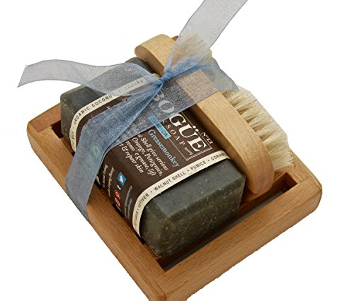 BOGUE Grease Monkey Luxury Goat Milk Soap Gift Set- Three Aggregate Soap to Exfoliate, Remove Grease & Smells with Essential Oils to Heal Cuts & Abrasions. Nail Scrubber and Tray Included