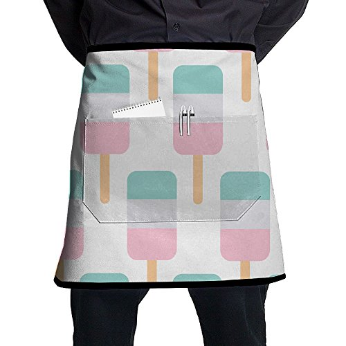 Jaylon Waist Short Apron Half Chef Apron Ice Lolly Wallpaper Cooking Apron With Pockets Home Kitchen Cooking -