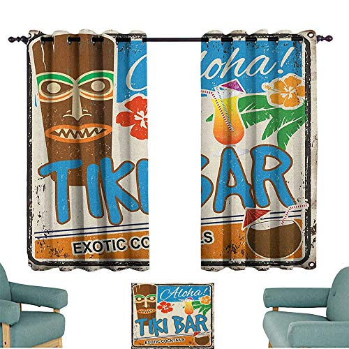 (WinfreyDecor Tiki Bar Simple Curtain Rusty Vintage Sign Aloha Exotic Cocktails and Coconut Drink Antique Nostalgic Noise Reducing 63