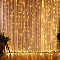 Curtain 300 LED String Lights 12 Modes with Hooks USB Powered Timer Function Waterproof Wedding Party Fairy Lights…