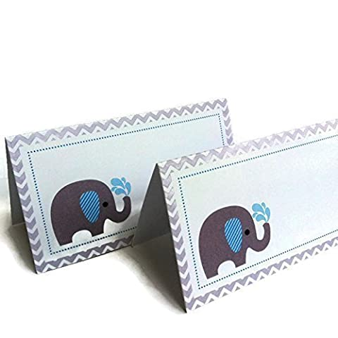 Grey Blue Elephant Place Tent Cards - Boy Birthday Baby Shower Party Supplies - Set of 12