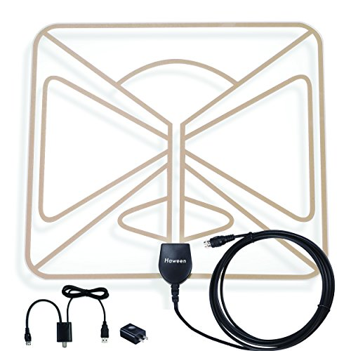Best Quality TV Antenna - Indoor Transparent Amplified 1080P HDTV Antenna 50 Mile Range with Detachable Amplifier, USB Power Supply - Best Transparent TV Antenna with Flat, Ultra Thin & Light Design